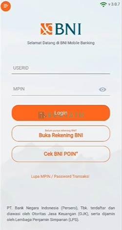 Masukkan UserID dan MPIN BNI Mobile
