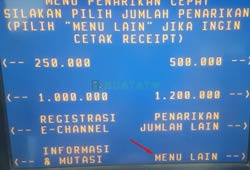 Pilih Menu Lain ATM BNI
