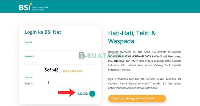 Beli Token Listrik di BSI Net Banking