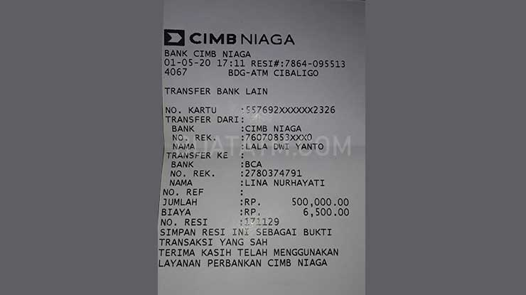 Bukti Transfer ATM CIMB Niaga