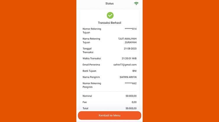Bukti Transfer BNI Mobile
