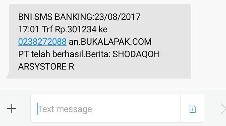 Bukti Transfer BNI SMS Banking
