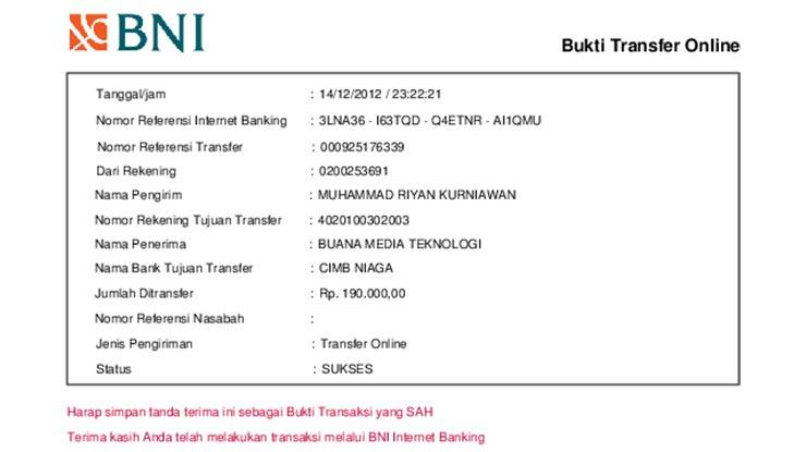 Bukti Transfer Internet Banking BNI