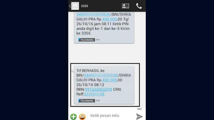 Bukti Transfer Mandiri SMS Banking