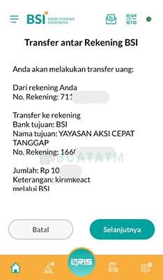cara transfer ke rekening bsi
