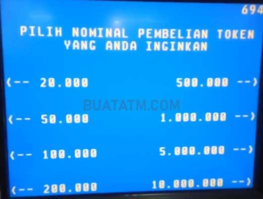 nominal Token Listrik ATM BNI