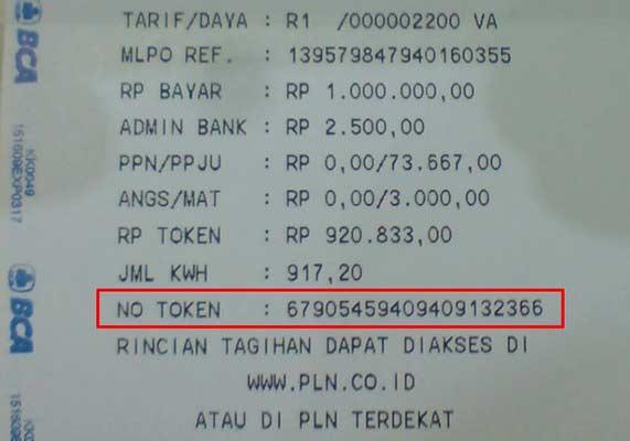 nomor Token Listrik di ATM BCA