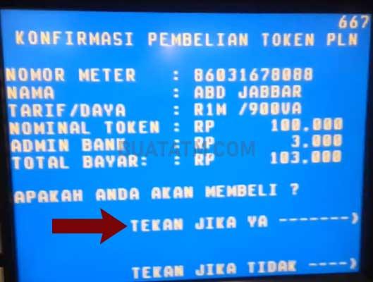 transaksi Token Listrik di ATM BNI