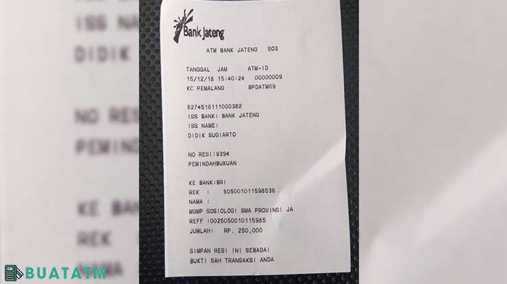 Bukti Transfer ATM Bank Jateng