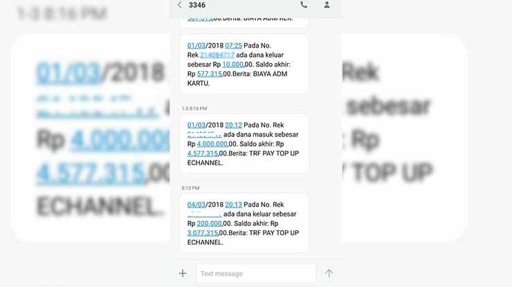 mutasi SMS Banking