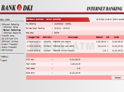 Cara Cek Mutasi Internet Banking Bank DKI