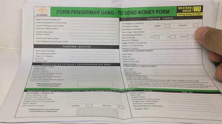 Formulir Pengiriman Western Union