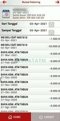 Mutasi Bank Jatim Mobile
