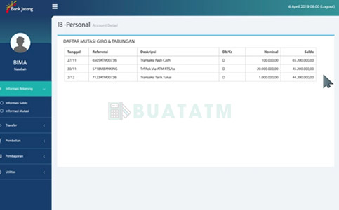 Mutasi rekening Bank Jateng