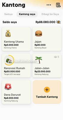 menu utama Aplikasi Bank Jago