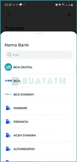 4 Pilih Bank Tujuan