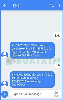 4 Saldo SMS Banking BNI Terlihat