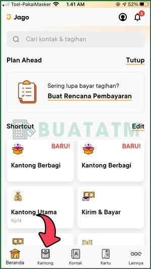 3 Pilih Tab Kantong