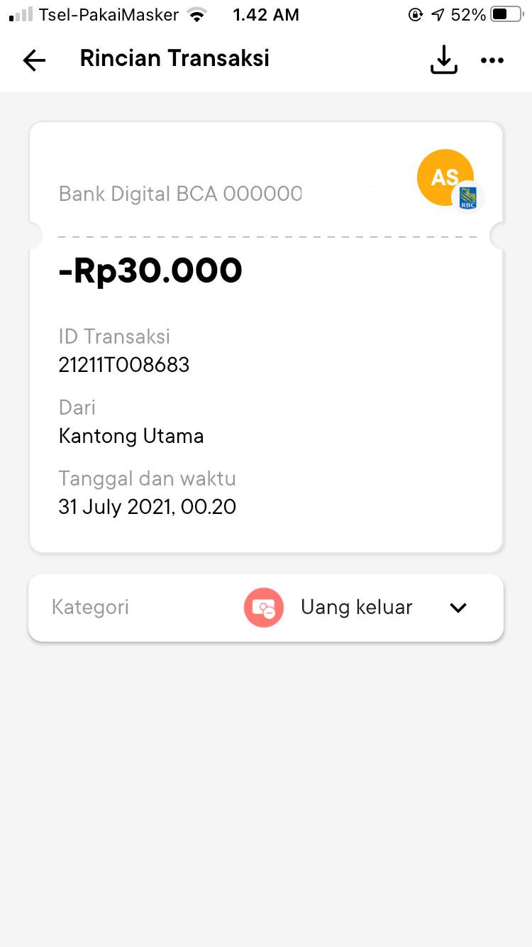 Bukti Transfer Bank Jago ke BCA Digital