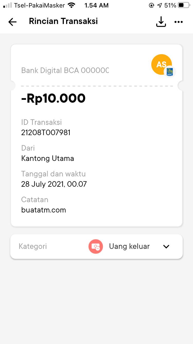 Bukti Transfer Bank Jago ke Bank Lain