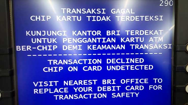 Penyebab Chip ATM BRI Tidak Terdeteksi