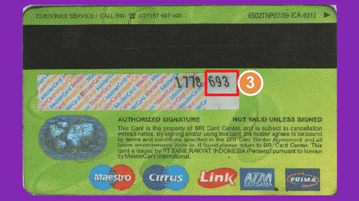Letak CVV Kartu Kredit & Debit BRI